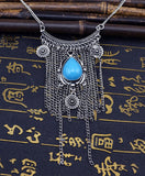 Boho Retro Silver Chain and Blue Turquoise Color Pendant Long Tassel Necklace