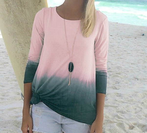 Casual Tie Dye Boho Long Sleeve Shirt Pink and Gray