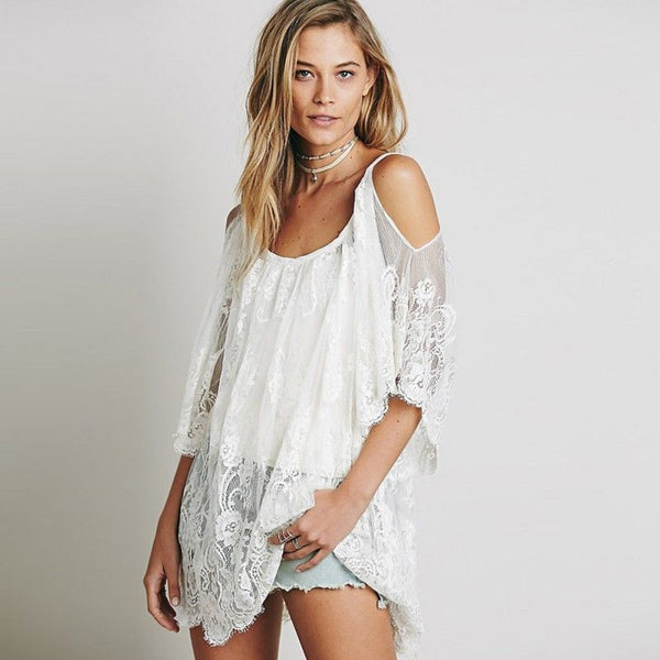 Lace Boho Hippie Tunic with cutout shoulders in Black or White