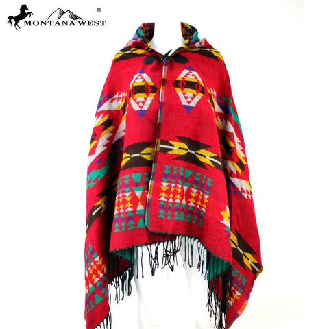 Montana West American Bling Southwestern Pattern Cape Poncho with Hoodie Many Colors