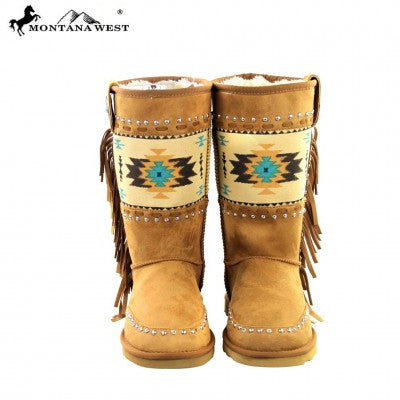 Montana West Aztec Collection Boots Brown