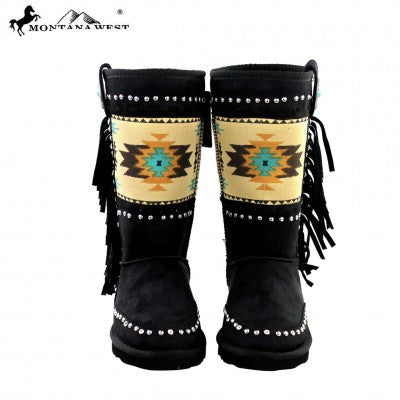 Montana West Aztec Collection Boots Black