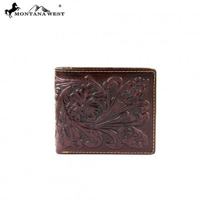 Montana West Genuine Tooled Leather Collection Men's Wallet-Many Styles And Colors