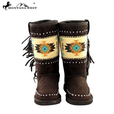 Montana West Aztec Collection Boots Coffee
