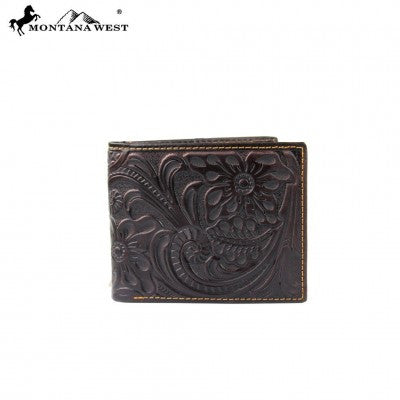 West Genuine Tooled Leather Collection Men's Wallet-Many Styles And Colors