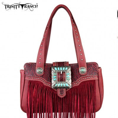 Trinity Ranch Leather Fringe Design Handbag Many Colors
