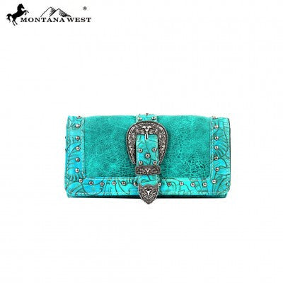 Montana West Buckle Collection Wallet-Turquoise-Tan/Brown