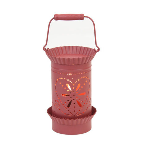 Tin Lantern Style Tart Warmer - Red Heart
