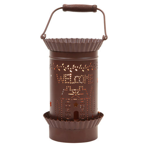 Tin Lantern Style Tart Warmer - Welcome