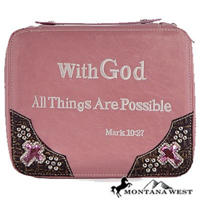 Bible Theme Bible Cover By Montana West-Pink
