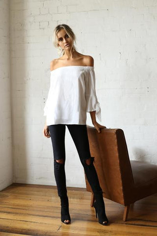 Georgina Off The Shoulder Top (white) - Light & Beauty xoxo