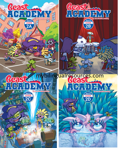 Beast Academy 2nd Grade Guide Book Set (Guide 2A, 2B, 2C, 2D)