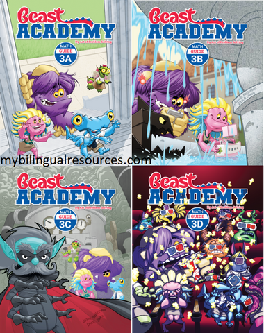 Beast Academy 3rd Grade Guide Book Set (Guide 3A, 3B, 3C, 3D)
