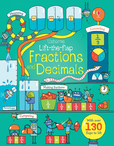 Usborne Lift-the-flap Fractions and Decimals Board Book IR