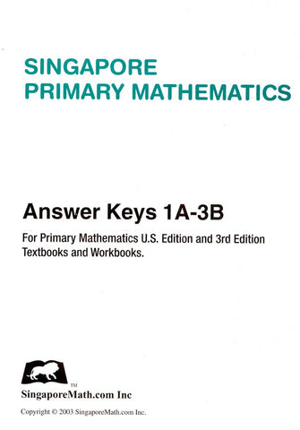 Singapore Math Primary Math US Edition Answer Key Booklet 1A-3B