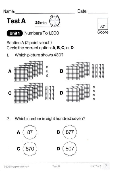 Singapore Math Tests 2A (Common Core Edition)