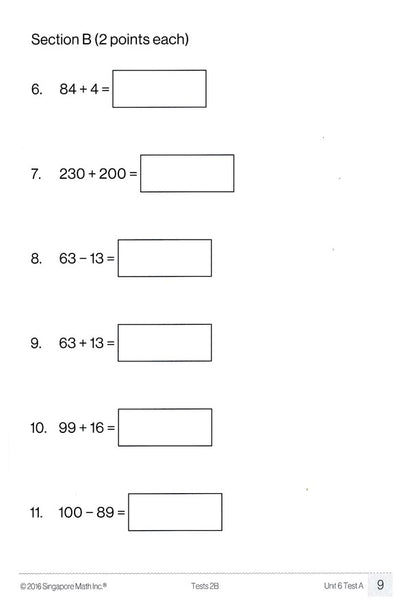 Singapore Math Tests 2B (Common Core Edition)