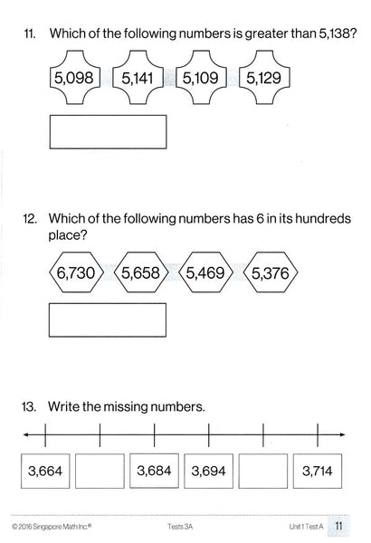 Singapore Math Tests 3A (Common Core Edition)