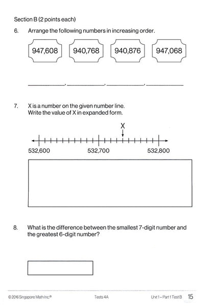 Singapore Math Tests 4A (Common Core Edition)