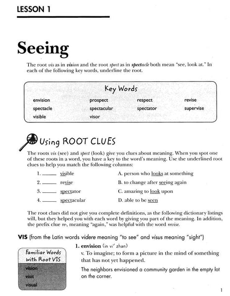 Vocabulary from Classical Roots Student Book 6 and Answer Key Set