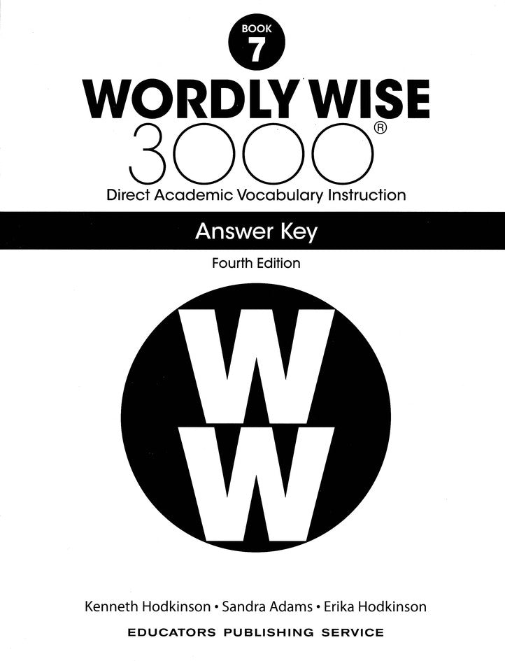 Wordly Wise 3000 Book 7 Answer Key (4th Edition)