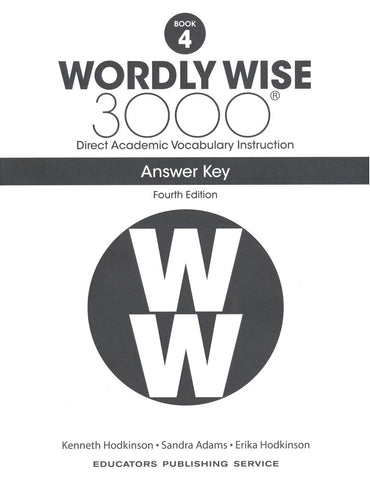 Wordly Wise 3000 Book 4 Answer Key (4th Edition)