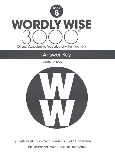 Wordly Wise 3000 Book 6 Student Book and Answer Key Set (4th Edition)