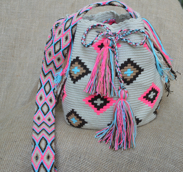 Pink & Tan Wayuu Bag