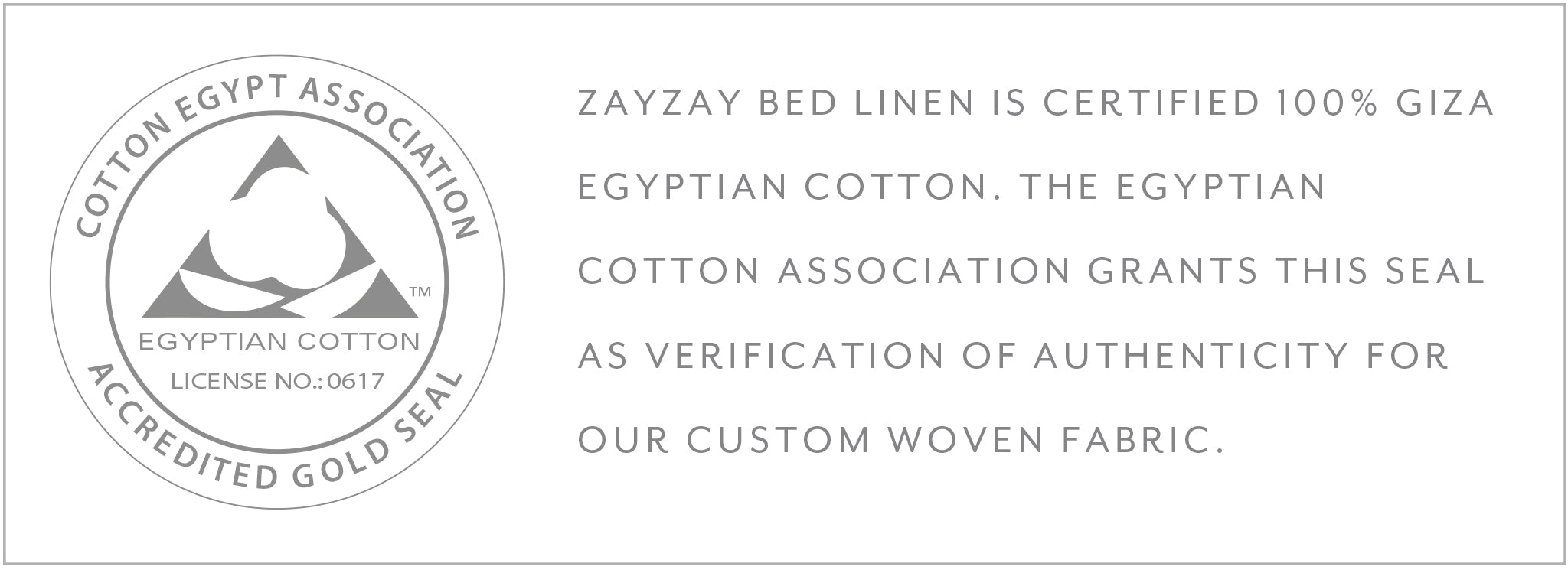Gold seal certification 100% Giza Egyptian cotton