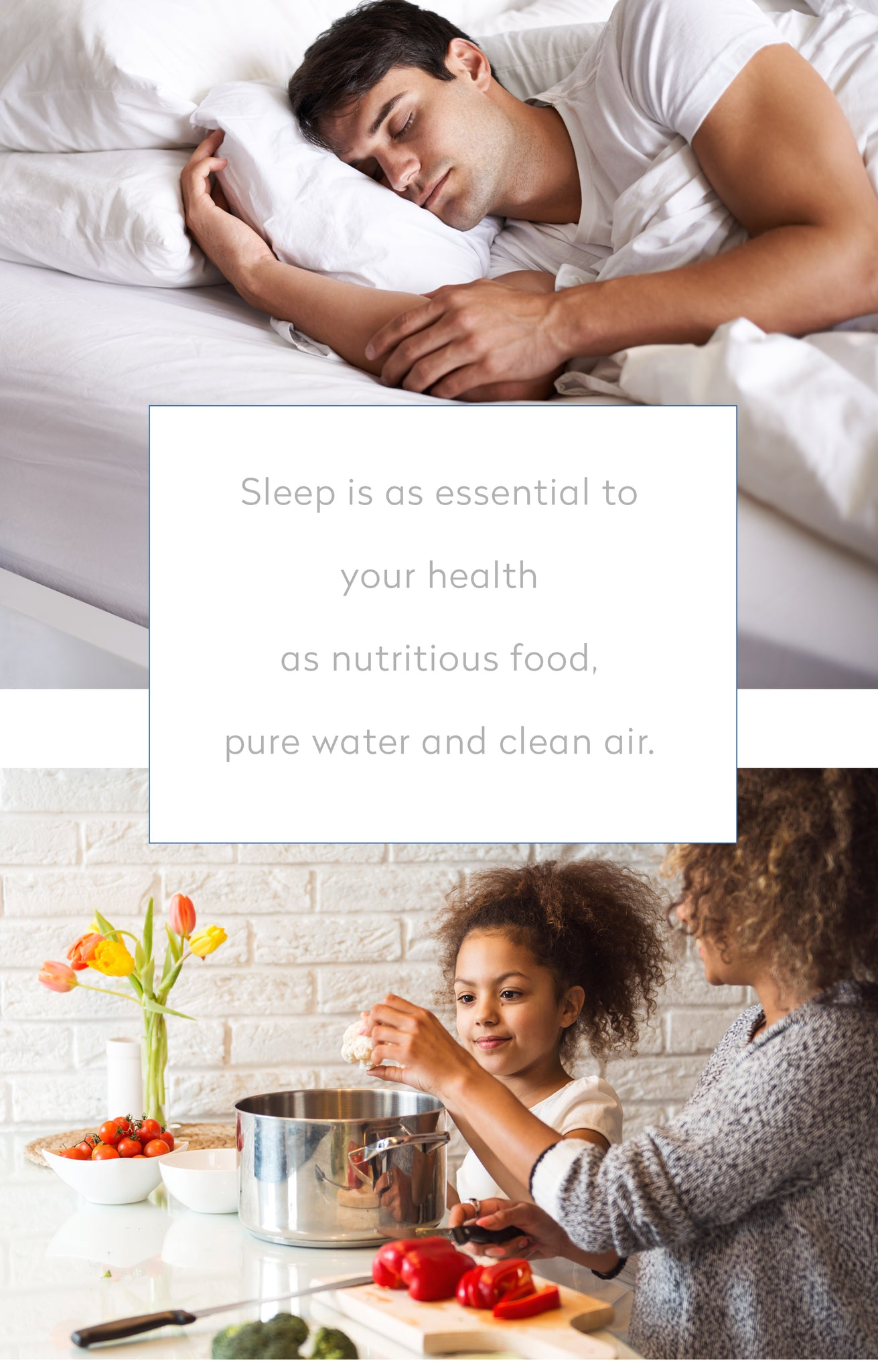 man sleeping, woman and child cooking - caption - sleep is as essential to your health as nutritious food, pure water and clean air.
