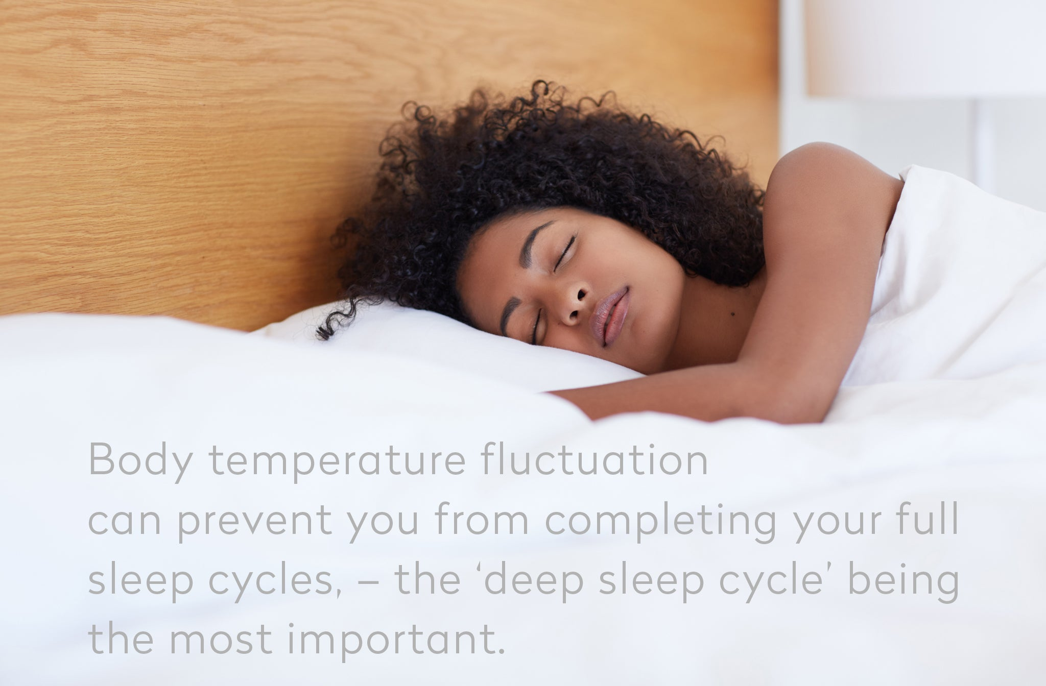 image of woman sleeping with quote - body temperature fluctuation can prevent you from completing full sleep cycles