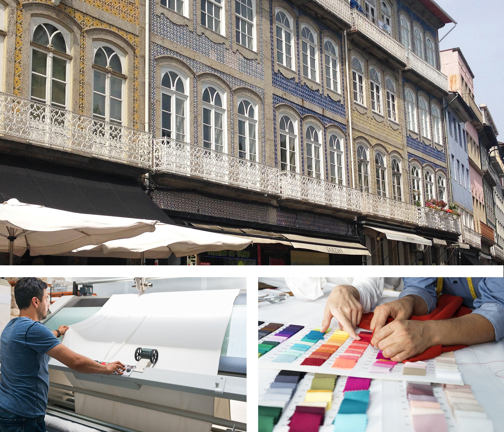 3 images together - Portugal street, inspection of fabric quality, selecting colour palette