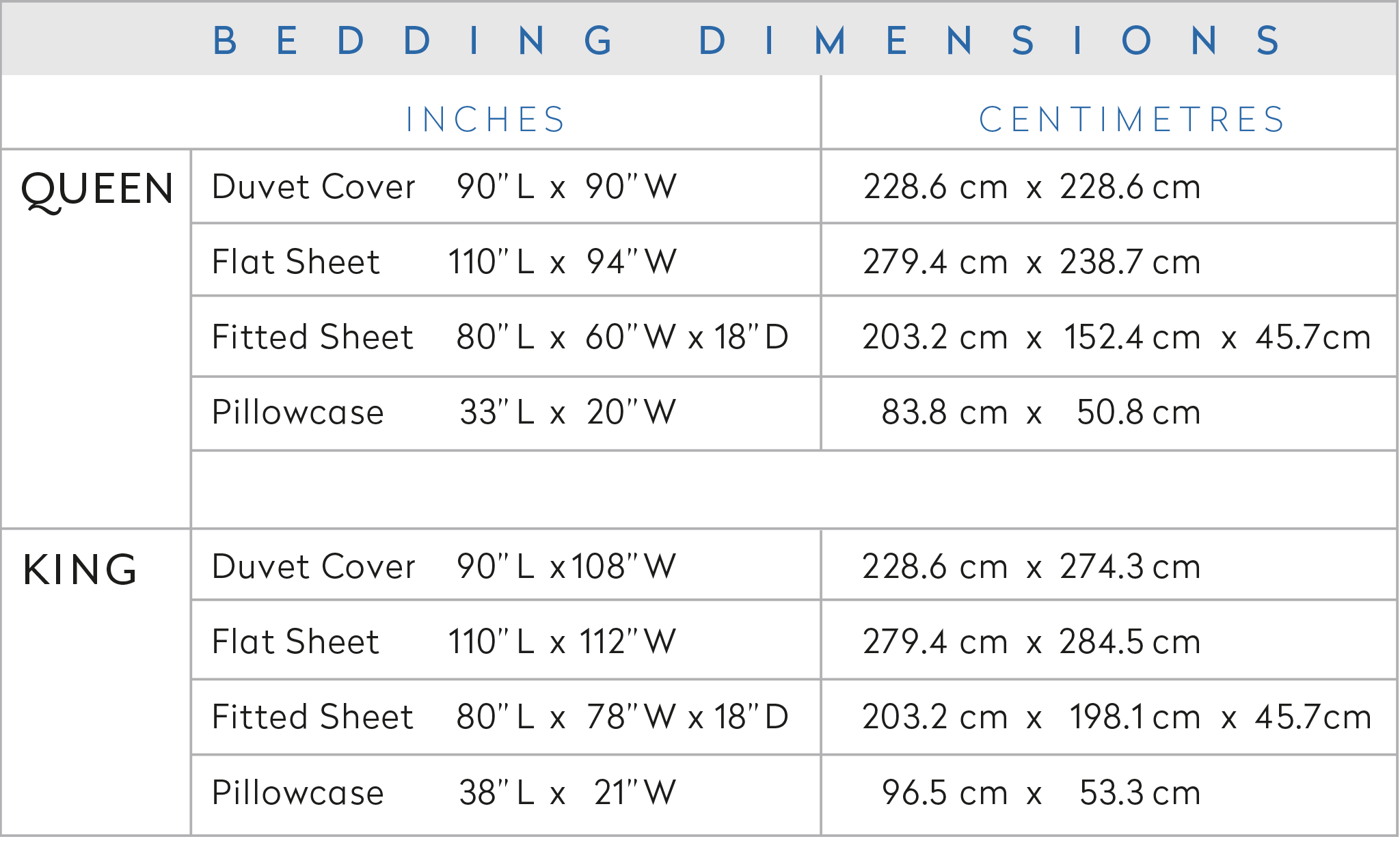 ZayZay luxury linen bedding size chart