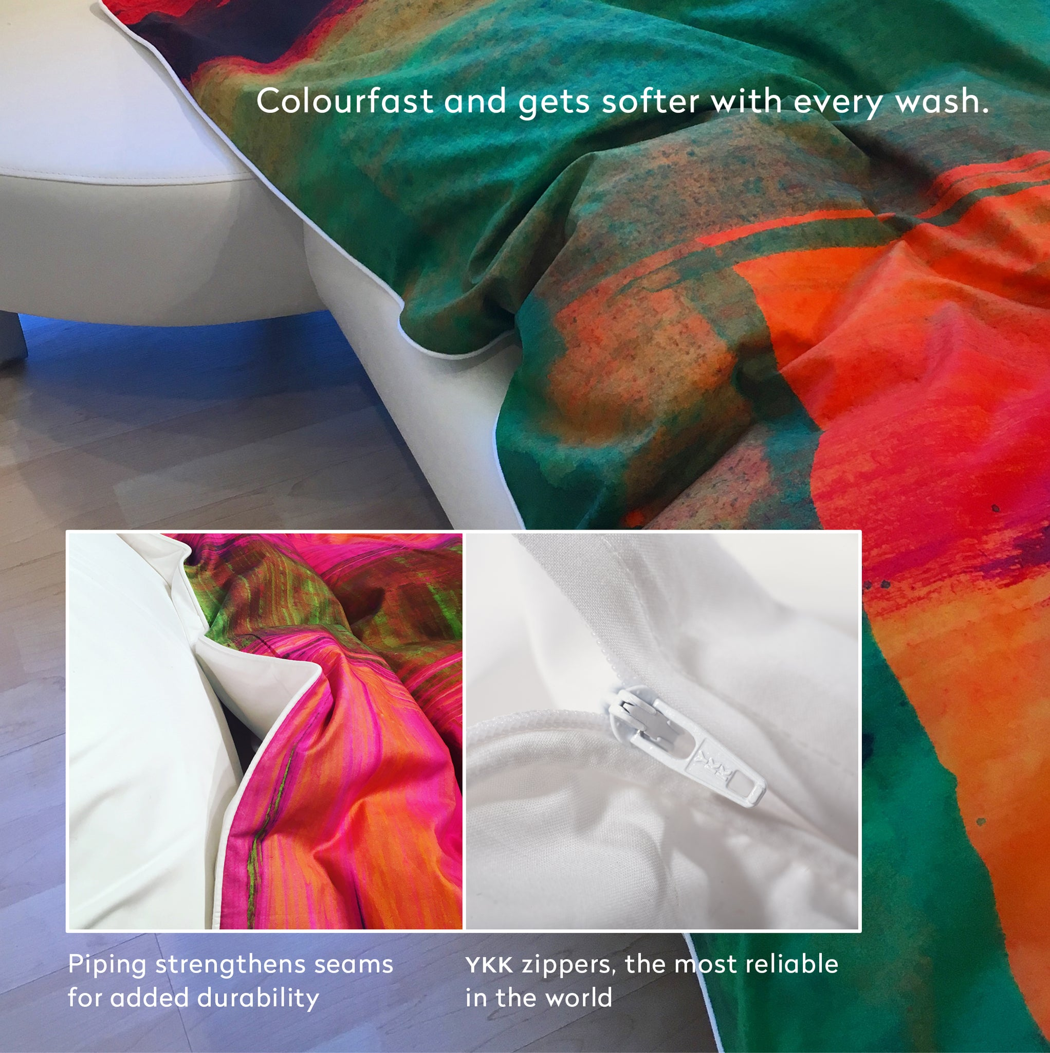 ZayZay duvet cover details - piping, YKK zipper and colourfast, softer with each wash