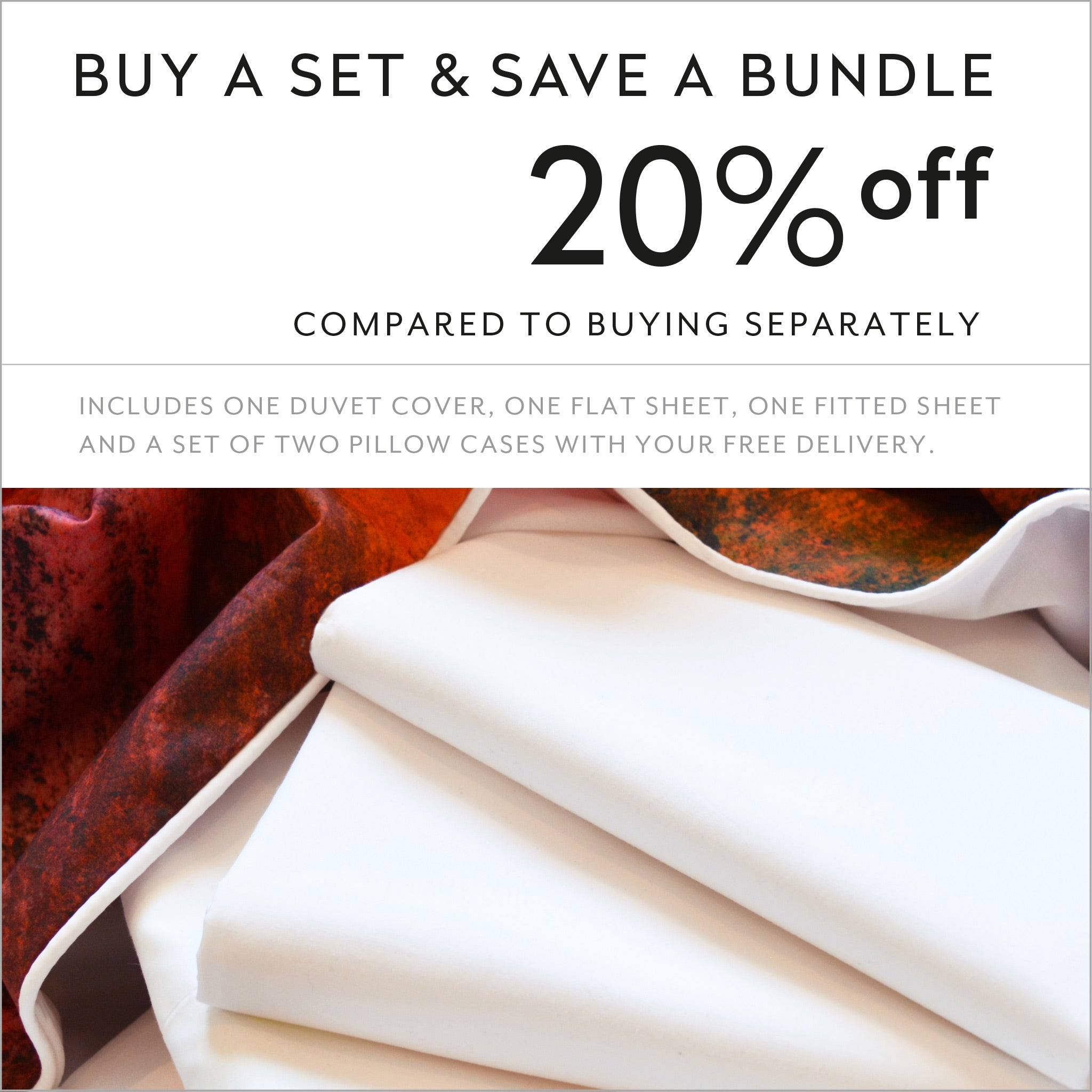 Buy a set and save 20% compared to buying separately cotton sheets and duvet cover design Volcano