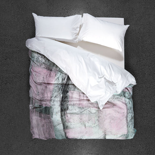 Rose Metal Cement Mix Duvet Cover - Top View