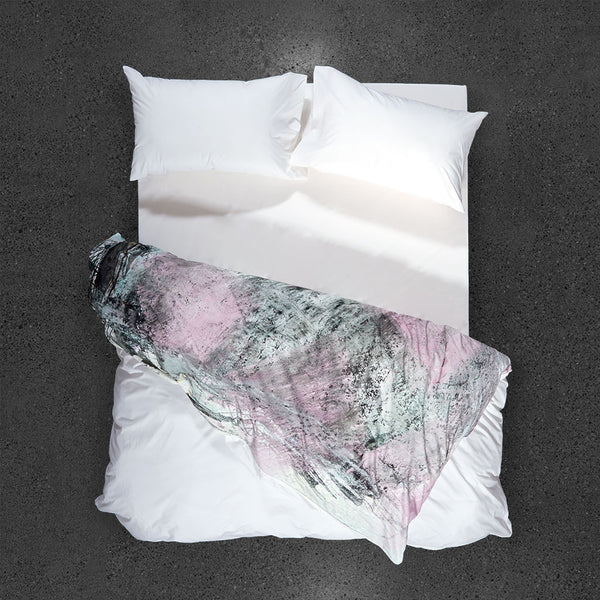 Rose Metal Cement Mix Duvet Cover - Top View - Flipped Duvet