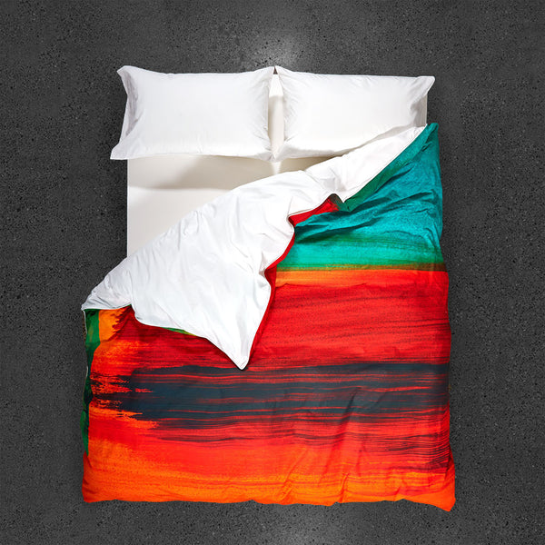 African Sunset Duvet Cover - Top View