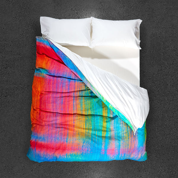 Tropical Frost on a North-Facing Window Duvet Cover - Top View
