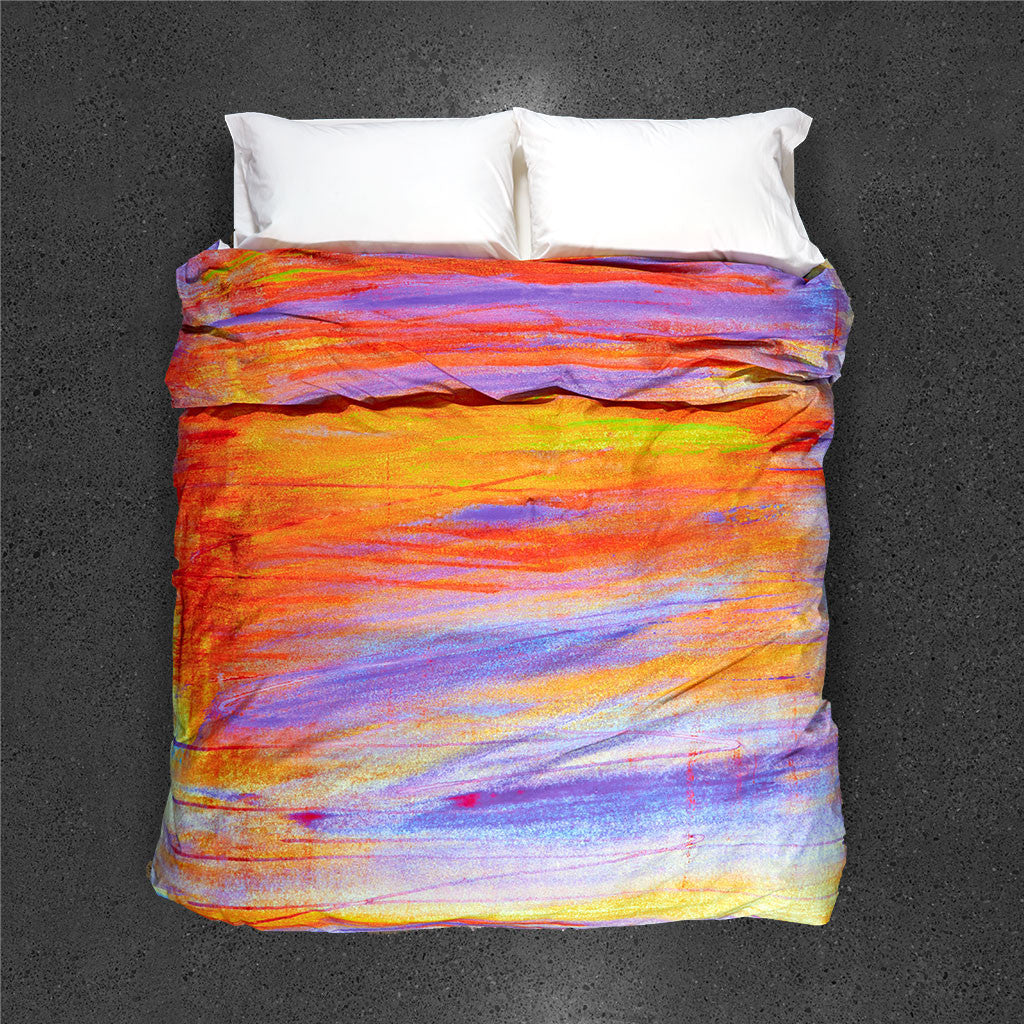 La Nuit Tombante en Printemps Duvet Cover - Top View