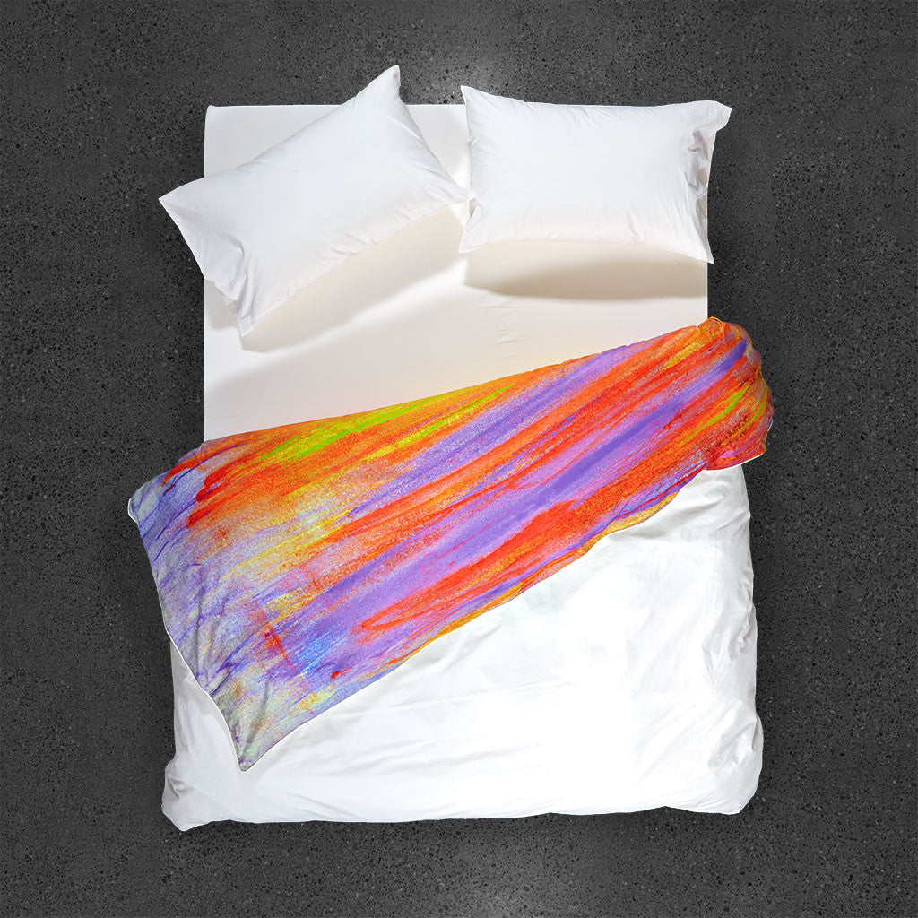 La Nuit Tombante en Printemps Duvet Cover - Top View – Flipped Duvet