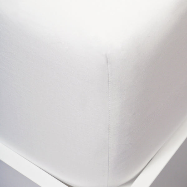 Close image of fitted sheet corner on mattress