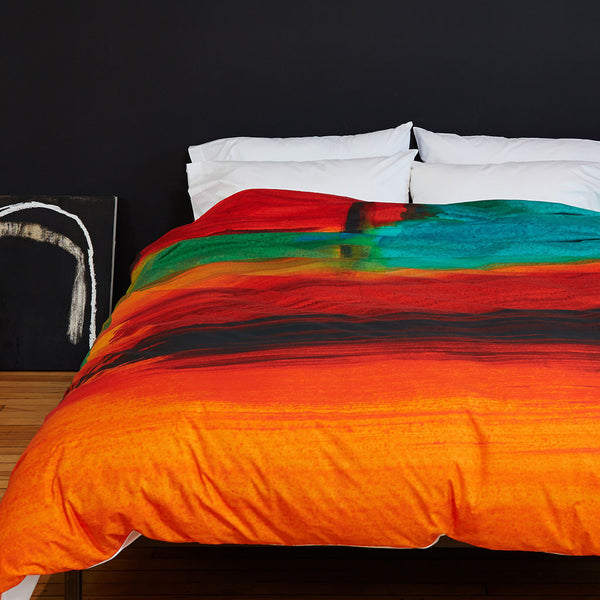 African Sunset Duvet Cover - Room View