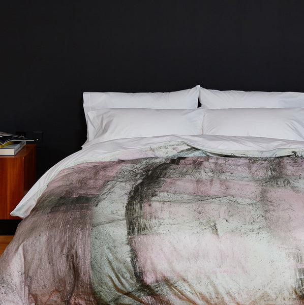 Rose Metal Cement Mix Duvet Cover - Room View