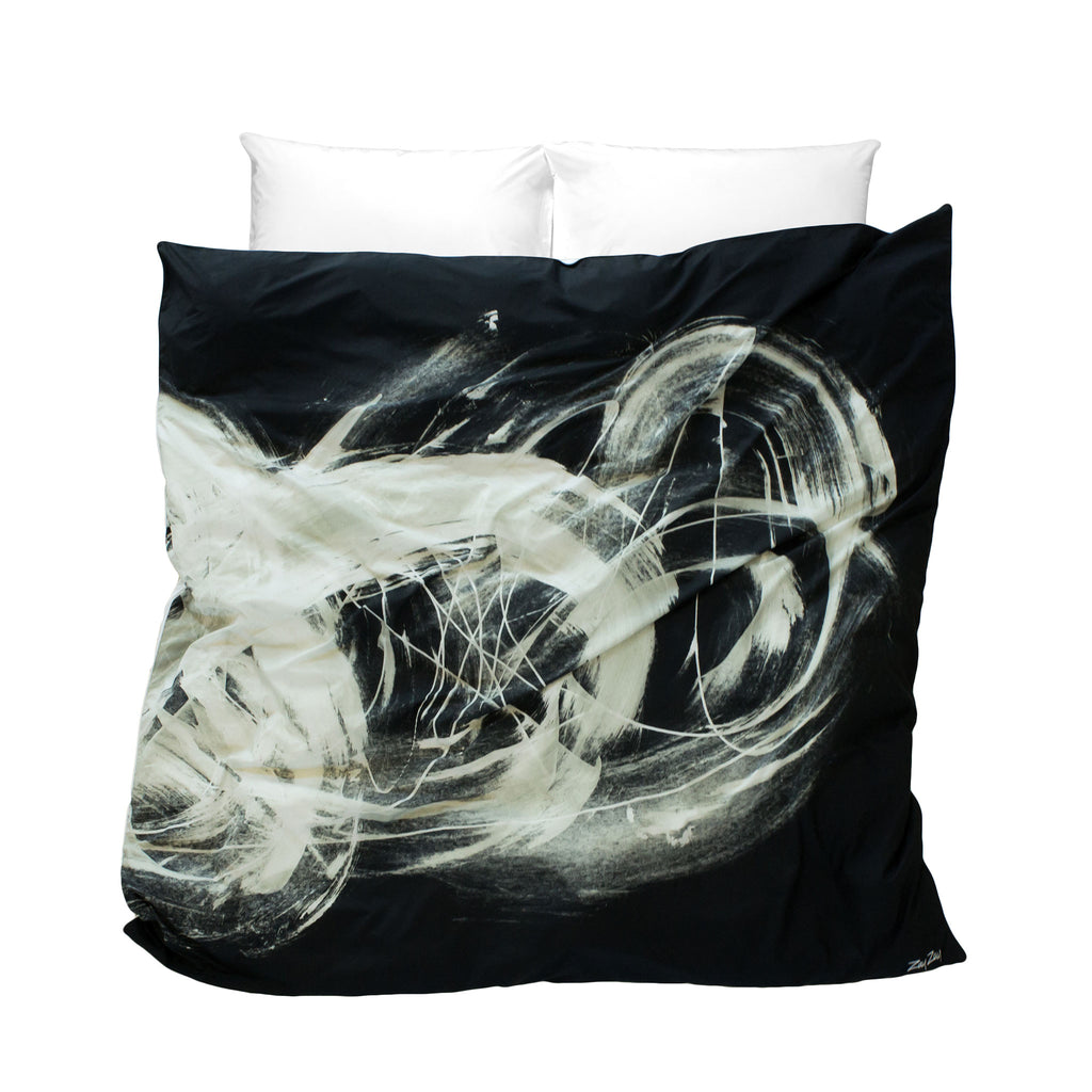 Black and white artistic duvet cover Realm of Rorshach design