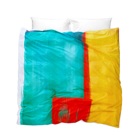 Boho Duvet Cover Moroccan Monday modern design bright turquoise red yellow colour on white background