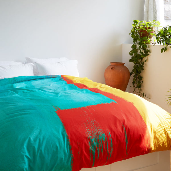 ZayZay egyptian cotton duvet cover Moroccan Monday design on bed yellow red turquoise modern art
