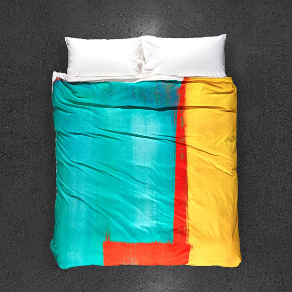 ZayZay-egyptian-cotton-duvet-cover-Moroccan-Monday design top view yellow red turquoise modern art