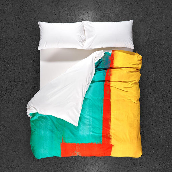 ZayZay egyptian cotton duvet cover design Moroccan Monday top view yellow red turquoise modern art