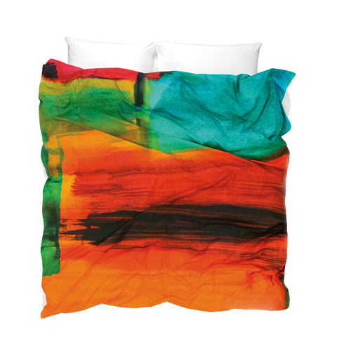 Contemporary duvet cover warm colours orange red green turquoise like an African sunset